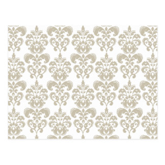 ベージュ白いヴィンテージのダマスク織パターン2 ポストカード