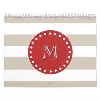 ベージュ白のストライプパターン、赤いモノグラム カレンダー