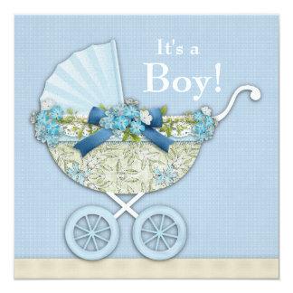 ベージュ空色の乳母車の男の子のシャワー カード