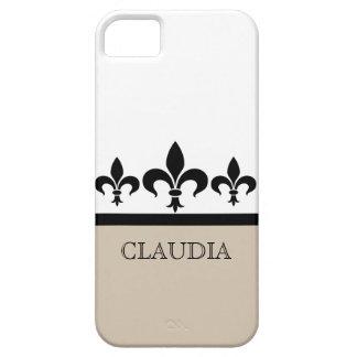 ベージュ粋な(紋章の)フラ・ダ・リBTのiPhone 5の箱 iPhone SE/5/5s ケース