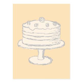 ベージュ背景のクリーム色色のケーキ ポストカード