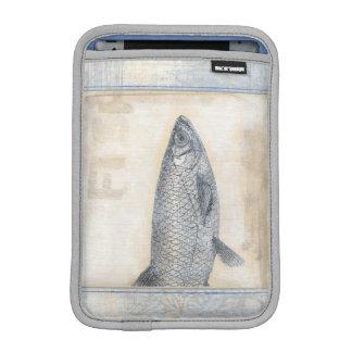 ベージュ背景の灰色の魚 iPad MINIスリーブ