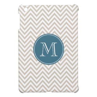 ベージュ色および濃紺のシェブロンのカスタムのモノグラム iPad MINI CASE