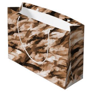 ベージュ色および燃やされたシエナ土のデザイナー迷彩柄 ラージペーパーバッグ