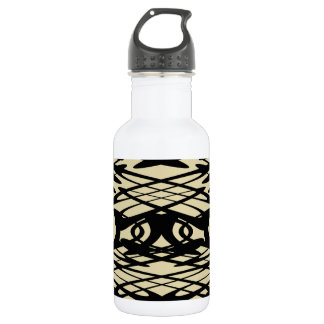 ベージュ色および黒のアールヌーボーパターン ウォーターボトル