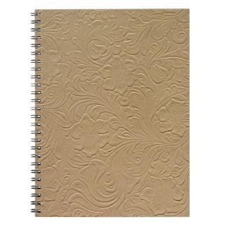 ベージュ色によって用具を使われる革ノート ノートブック