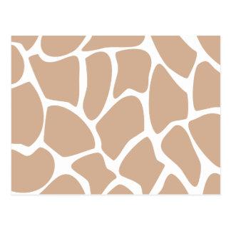 ベージュ色のキリンのプリントパターン ポストカード