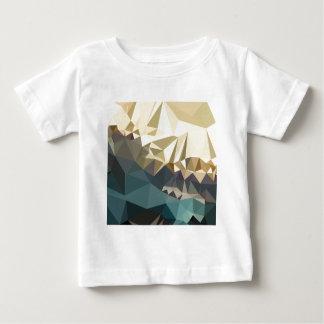 ベージュ色のブラウンの青の抽象芸術の低い多角形の背景 ベビーTシャツ
