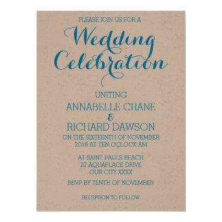 ベージュ色の名前入りな結婚式招待状の水の文字 カード
