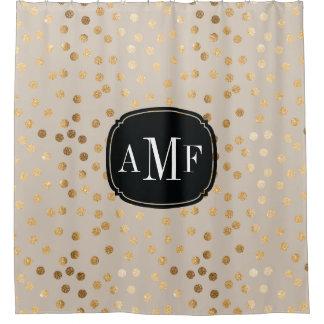 ベージュ色の3つの手紙のモノグラムの金ゴールドのグリッターの点 シャワーカーテン