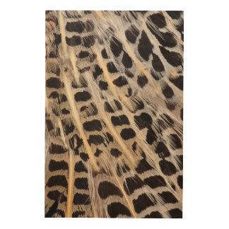 ベージュ色は羽の抽象芸術に斑点を付けました ウッドウォールアート