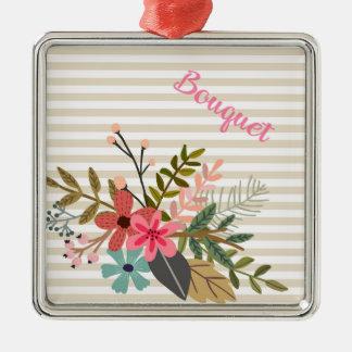 ベージュ色ストライプの花花束 メタルオーナメント