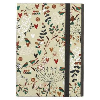ベージュ色及びブラウンのレトロの花及び鳥パターン iPad AIRケース