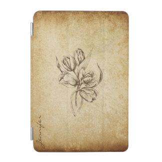 ベージュ色及びブラウンの花のヴィンテージの一見 iPad MINIカバー