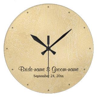 ベージュ色抽象芸術の結婚の黒くカスタムな文字 ラージ壁時計