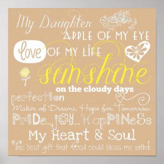 ベージュ色私の娘の愛およびインスピレーションポスター プリント