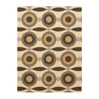 ベージュ色、茶色および砂は円および点を着色しました ウッドウォールアート