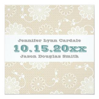 ベージュ花のレースのティール(緑がかった色)の青の結婚式招待状 カード