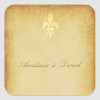 ベージュ金ゴールドdeの豪華なフランス人のスタイルの(紋章の)フラ・ダ・リ スクエアシール