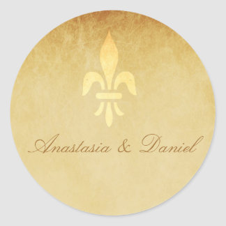 ベージュ金ゴールドdeの豪華なフランス人のスタイルの(紋章の)フラ・ダ・リ ラウンドシール