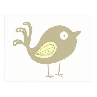 ベージュ鳥 ポストカード