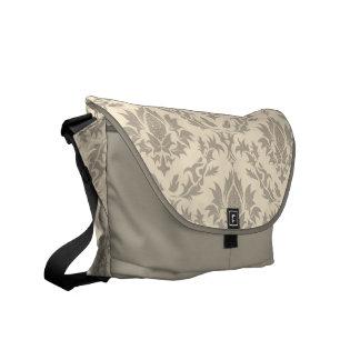 ベージュ ダマスク織 パターン メッセンジャー 袋