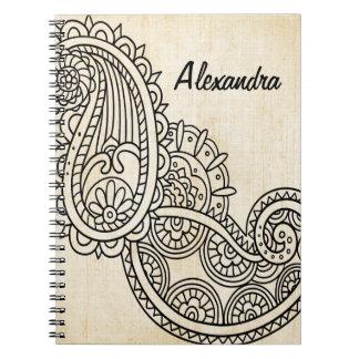 ベージュMehndiのモチーフのノート ノートブック
