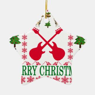 ベースギターのメリークリスマス。 セラミックオーナメント