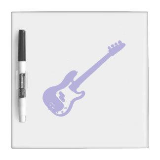 ベースギターの傾けられた青いグラフィック ホワイトボード