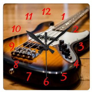 ベースギター スクエア壁時計