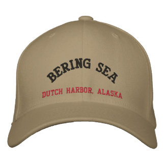 ベーリング海のオランダ港、アラスカ 刺繍入りキャップ