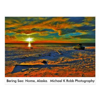 ベーリング海の海岸。 Nome、アラスカ ポストカード