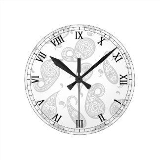 ペイズリーのデザインは色の背景及び文字をカスタマイズ ラウンド壁時計