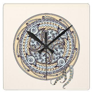 ペイズリーのバランスの曼荼羅の柱時計 スクエア壁時計