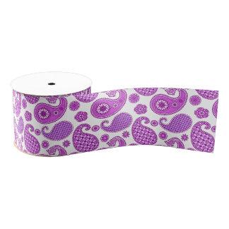 ペイズリーのパターン、バイオレット、紫色および白 グログランリボン