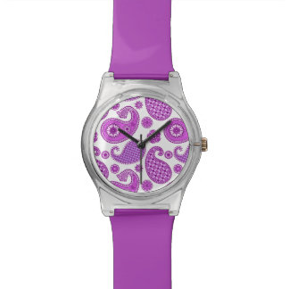 ペイズリーのパターン、バイオレット、紫色および白 腕時計