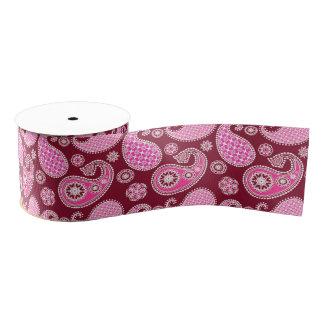 ペイズリーのパターン、バーガンディ、ピンクおよび白 グログランリボン