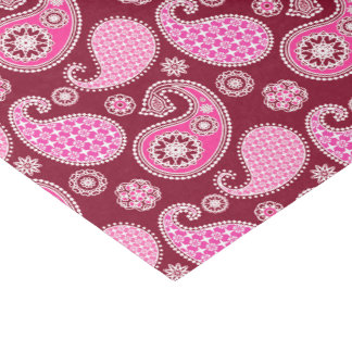 ペイズリーのパターン、バーガンディ、ピンクおよび白 薄葉紙