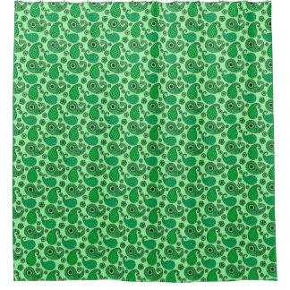 ペイズリーのパターン、ヒスイおよびミントの緑 シャワーカーテン