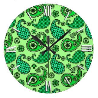 ペイズリーのパターン、ヒスイおよびミントの緑 ラージ壁時計