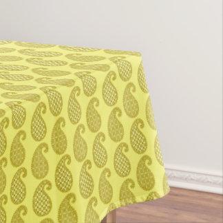 ペイズリーのパターン、マスタードおよび浅い黄色 テーブルクロス