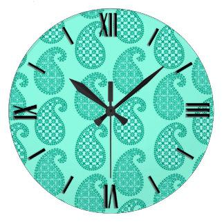 ペイズリーのパターン、水およびターコイズ ラージ壁時計