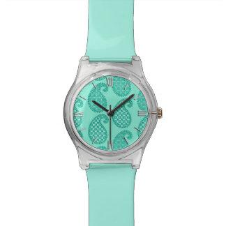 ペイズリーのパターン、水およびターコイズ 腕時計