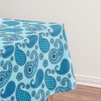 ペイズリーのパターン、空およびコバルトブルー テーブルクロス