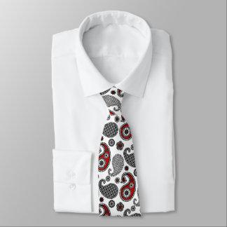 ペイズリーのパターン、黒、白および赤 オリジナルネクタイ