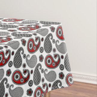 ペイズリーのパターン、黒、白および赤 テーブルクロス