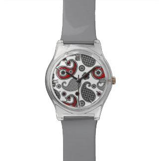 ペイズリーのパターン、黒、白および赤 腕時計