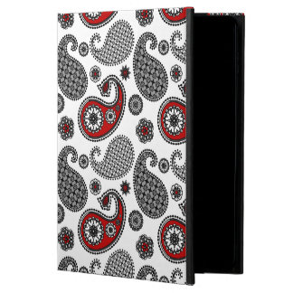 ペイズリーのパターン、黒、白および赤 POWIS iPad AIR 2 ケース