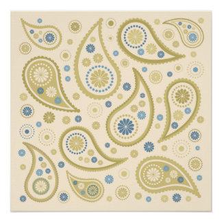 ペイズリーのファンキーなプリントのクリームの青の金 ポスター