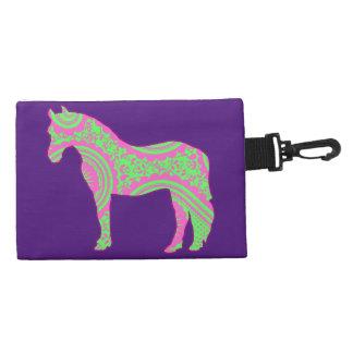 ペイズリーの子馬が付いている紫色のクリップ式のアクセサリーバッグ アクセサリーバッグ